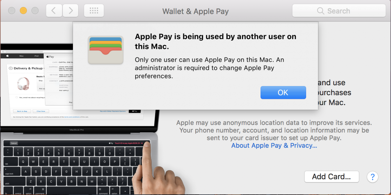 Apple Pay and the new 2016 MacBook Pro